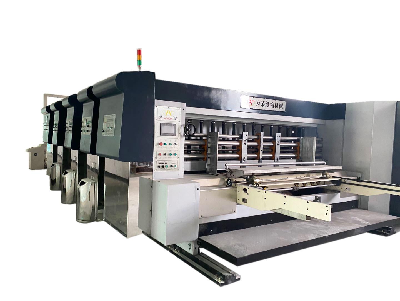 为荣全电脑自动3色水性印刷开槽配清废叠纸细节展示